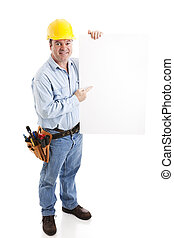 Construction Worker - Sign - Construction worker holding a...