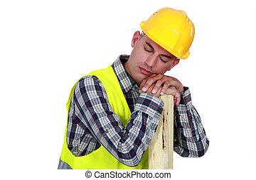 Construction worker sleeping