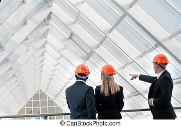 Construction Worker - A group of young engineers at the...