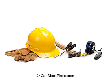 Construction worker supplies on white