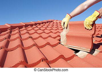 Construction worker tile roofing repair house - Roof repair,...