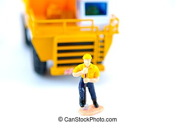 Construction Worker - Toy construction worker isolated with...
