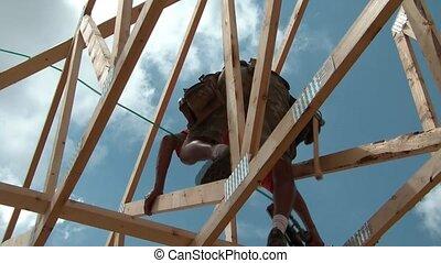 Construction Worker Up High - Construction framer up high...