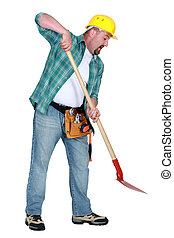 Construction worker using a spade