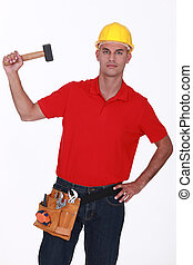 Construction worker with a mallet