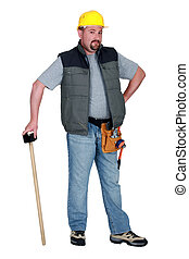 Construction worker with a sledgehammer