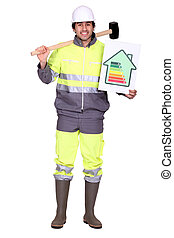 Construction worker with an energy rating card