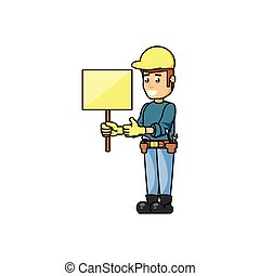 construction worker with banner signal