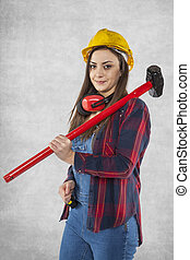 Construction worker with big hammer