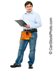 Construction worker with clipboard looking on side