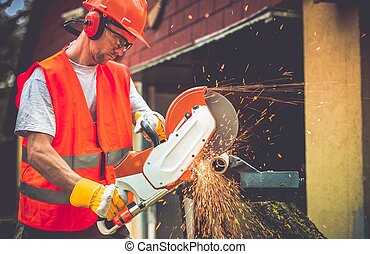 Construction Worker with Cutter