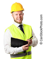 Construction worker with document