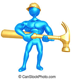 Construction Worker With Giant Hammer - 3D Concept And...