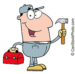 Construction Worker With Hammer - Clip Art Plumber Carrying...