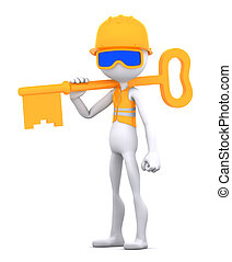 Construction worker with key