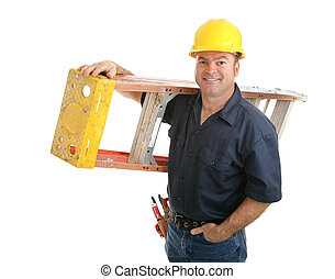 Friendly construction worker carrying ladder. Isolated on white background.