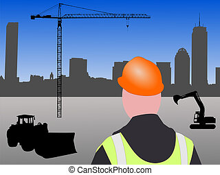 Boston building site - Construction worker with machinery...