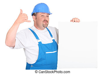 Construction worker with panel