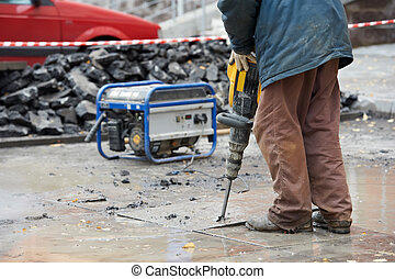 construction worker with perforator - Builder worker with ...