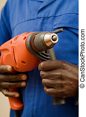 Construction Worker with Power Tool - African American...