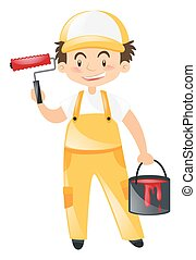 Construction worker with red paint