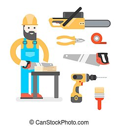Construction worker with saw. Man sawing a Board. Woodworker or joiner. Good builder in uniform. Service man.