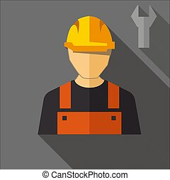 Construction worker with shadow. FLAT DESIGN