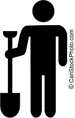 Construction worker with shovel pictogram