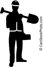 Construction worker with shovel silhouette