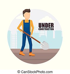 construction worker with shovel