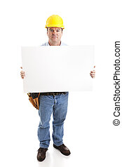 Construction Worker with Sign - Serious