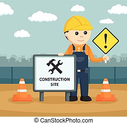construction worker with signs