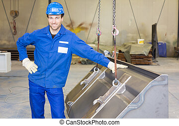 construction worker with steel parts
