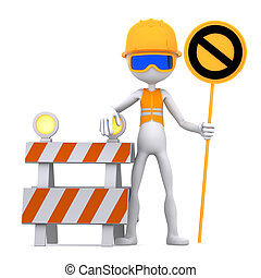 Construction worker with STOP sign. Site under construction....