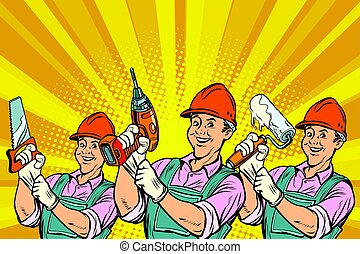 Construction worker with the repair tools