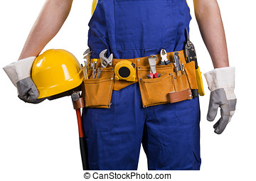construction worker with tool belt isolated on white