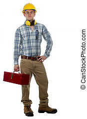 Construction Worker with tool box