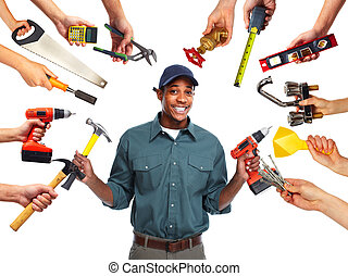 Construction worker with tools