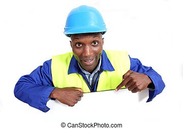 Construction worker with whiteboard isolated