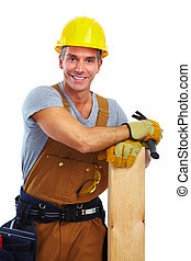 Construction worker with wood plank.