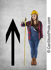Construction worker woman with meter, growth arrow