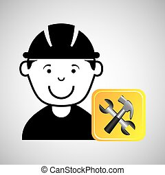 construction worker wrench hammer graphic