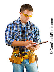 construction worker writing in paperclip