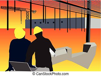 Construction workers background