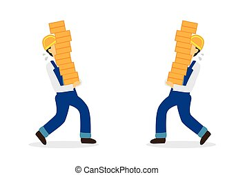 Construction workers carrying bricks and in a danger to crash into each other. Concept of work safety and workplace accident.