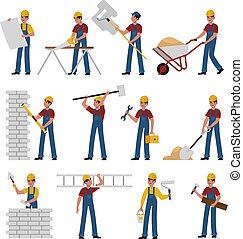 Construction workers. Cartoon builders in helmet work with constructions tools saw, hammer and trowel, shovel and ladder, building and renovation house flat vector characters collection