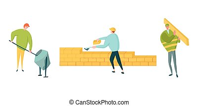 Construction workers characters set. Stirring concrete, laying bricks, carrying timber.