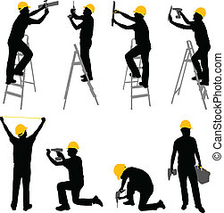 construction workers silhouettes - vector