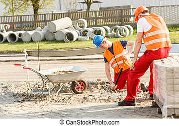Construction workers during work
