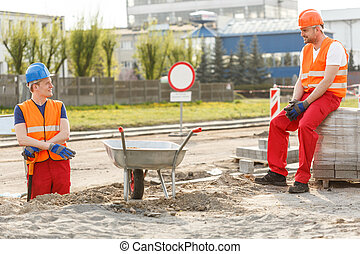 Construction workers having a break